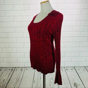 Apt. 9 Red/Black Ribbed Scoopneck Sweater - Medium